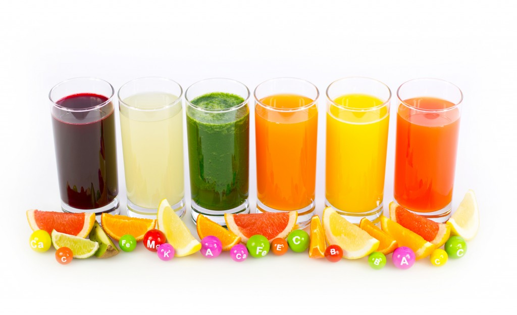 Fresh and healthy fruit and vegetable juices